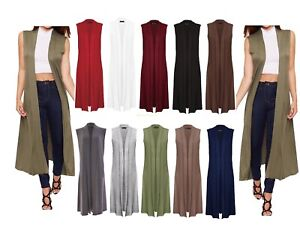 New Ladies Women Sleeveless Long Maxi Cardigan Open Maxi Cardigan Waistcoat