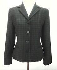 RALPH LAUREN WOMENS jacket Blazer Black Windowpane Plaid 4 Button WOOL sz 6 $175