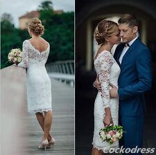 Short New White Ivory Lace Wedding Dress Bridal Gown Custom Made 2 4 6 8 10 12 +