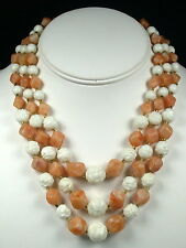 Vintage 3 Strand Beaded Necklace - Molded White Flower Beads, Hong Kong
