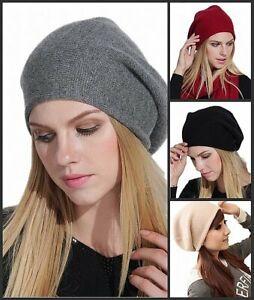 100% Kaschmir Cashmere Damen Beanie Strick-Mütze Uni-farbe weich warm soft