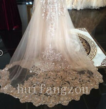 Champagne Cathedral Bridal Accessories Wedding Veils Lace Edge1 Layers In Stock