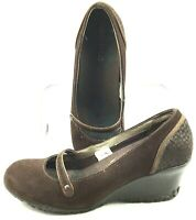 Merrell Petunia Mary Jane Pump Womens Size 8 Brown Suede Slip On Wedge Heel Shoe