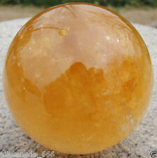 90MM Natural Citrine Calcite Quartz Crystal Sphere Ball Healing Gemstone+Stand**