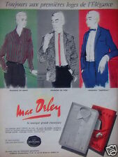 PUBLICITÉ 1958 MAC ORLEY CHEMISES DE SPORT DE VILLE HABILLÉES