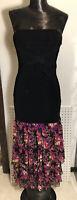 BEBE Brand Black Strapless Bandage Dress Women's Sz S Floral Ruffled Bodycon