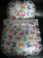 WHITE & COLORFUL BUTTERFIES  DOLLS PRAM SET..IDEAL FOR SILVER CROSS COACH BUILT
