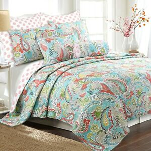 Mirage Paisley 3-Piece Reversible Quilt Set, Bedspread, Coverlet