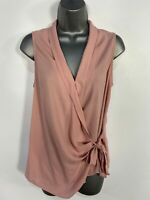 BNWT WOMENS NEW LOOK DUSKY PINK SLEEVELESS WRAP TIE WAIST SUMMER EVENING TOP UK8