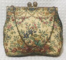 Vintage Walborg Purse Handbag Hand Made Tapestry Chain Strap Kiss Lock Ornate