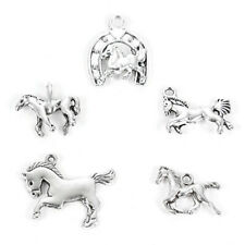 Mixed Tibetan Silver Horse Horseshoe Charms Pendant DIY Jewelry Making Findings