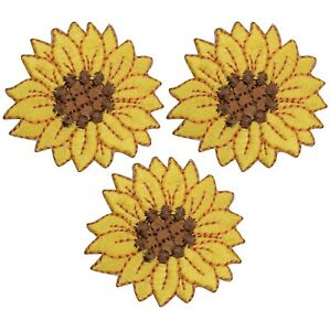 """Sunflower Applique Patch - Flower, Bloom Badge 1-5/8"""" (3-Pack, Iron on)"""