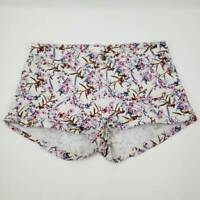 H&M Womens Denim Jean Shorts White Purple Pink  Floral Stretch Casual 10