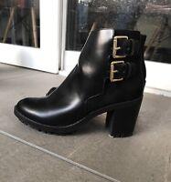 Chaussures Bottines Noires Cuir Et Daim ZARA - Taille 37 - Tres Bon Etat