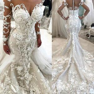 Mermaid Lace Wedding Dresses Detachable Train 3D Flower Long Sleeve Bridal Gown