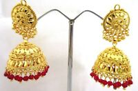 Ethnic Indian Gold Plated Bollywood Style Red Pearl Jhumka Jhumki Earrings EA11