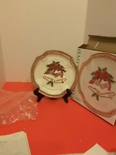 Fitz And Floyd Holiday Bells Canape Plate Original Box Never Used