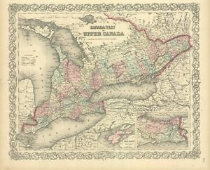 """1860 Colton's  """"Canada West or Upper Canada... """""""