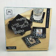 Melannco Clear Glass Photo Coasters 4 Pk Live Laugh Love Family Black Scroll Box