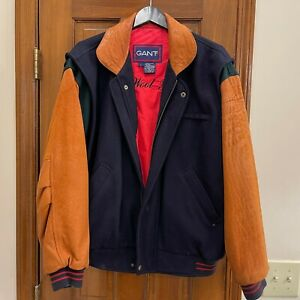 """GANT Vintage """"The Wool Flyer"""" Bomber Jacket Style Wool w/Leather Sleeves LRG"""