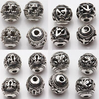 Hot 10/20Pcs 8mm Tibetan Silver Spacer Loose Beads Bracelets Charms Findings DIY
