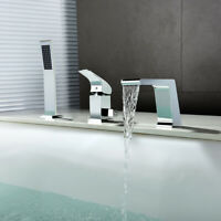 Modern Deck Mounted Roman Tub Filler Faucet&Handheld Shower Set Bathroom Chrome