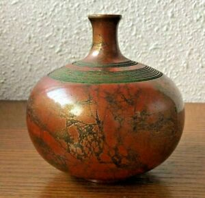 Japanese Bronze Vase Autographed Kado Ikebana Old Antique Meiji Era From Japan