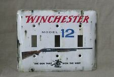 Winchester Model 12 - Metal Triple Light Switch Cover - New - Old Tin Sign Look