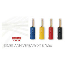 2 x 1.5m QED Silver Anniversary XT BI-WIRE Speaker Cable 4+4 AIRLOC ABS Plugs
