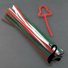Chenille Sticks / Pipe Cleaners - Plain - Christmas Colours 6mm (Pack of 20) - C