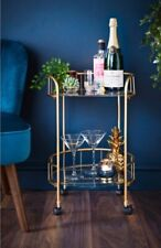 Gold Finish Drinks Trolley With Glass Shelves Cocktail Table