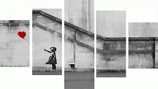 Huge Extra Large 5 Piece Set Banksy Red Hope Balloon Canvas Pictures Wall Art
