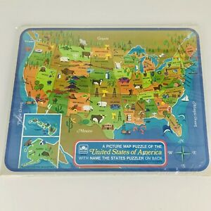 Vintage Golden 1968 Picture Map Tray Puzzle Of United States Of America Complete