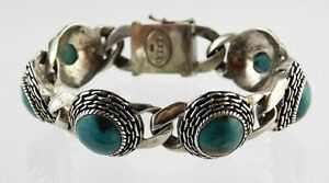 Vintage EXEX Claudia Agudelo Turquoise Link Bracelet Sterling Silver 925 7.5Inch