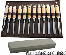12pc Wood Carving Chisel Set & Sharpening Stone Wood work Carpenter Art Artist