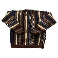 VTG 90s Protege Coogi Style Brown Tan Knit Texture Biggie Cosby Sweater Men's XL
