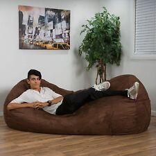 Brown Color Faux Suede Microfiber 8 Feet Bean Bag Lounge Chair Seat