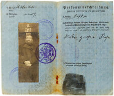 1917 Ukmerge WWI - Rare Yiddish Passport - GERMAN RULED LITHUANIA - Jewish Male