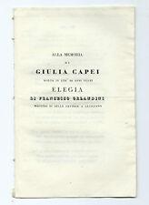 Libro Memoria Giulia Capei Morta 20 Anni Elegia Lucignano F. S. Orlandini 1840