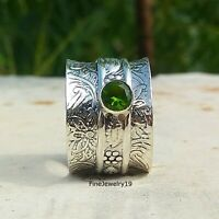 Peridot Ring 925 Sterling Silver Spinner Ring Meditation Statement Jewelry- H43