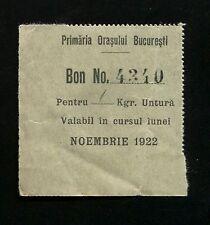 h295 Romania 1922 Bucharest Coupon for 1 kilo of lard Free food necessity ticket