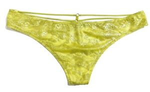 Victorias Secret Strappy V-String Panty Large Metallic Yellow Lace