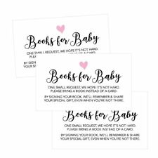 25 Books For Baby Request Insert Card For Girl Pink Hearts Baby Shower...