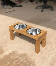 Wooden Dog Bowl Stand - 25cm - Medium Oak