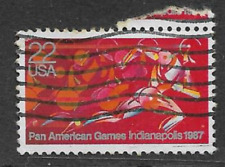 UNITED STATES POSTAL ISSUE -1987 USED COMMEMORATIVE STAMP PAN AMERICAN GAMES
