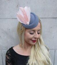 Blush Light Pink Dark Grey Silver Feather Pillbox Hat Hair Clip Fascinator 6741