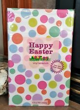 New Easter Spring Vinyl Tablecloth Flannel Back Thick Heavy Colored Purple Pink
