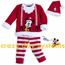 Disney Store Mickey Christmas Pajamas w/ Hat Baby Boys 18/24 Months Outfit NEW