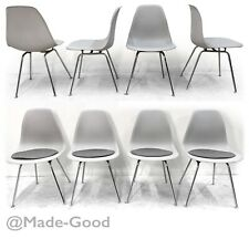 retro vintage FOUR EAMES SIDE DSX DINING CHAIRS WITH 4 WOOL CUSHIONS
