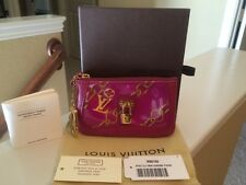 AUTH Louis Vuitton Fuchsia Monogram Charms Velvet Chains Coin Pouch